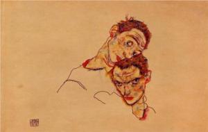 schiele_double self portrait