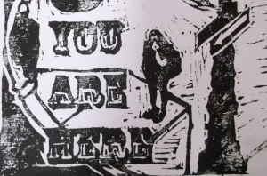 you are here woodcut