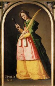 "Franciso Zurbarán.  Saint Appollonia. 1636. Oil. Paris: the Louvre. 44 x 26"""