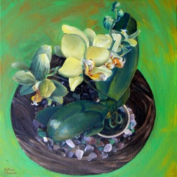 Green Orchid, oil on canvas, 12 x 12″, 2011