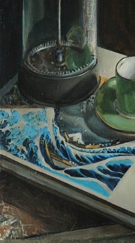 Conversation with Hokusai (detail), oil on canvas, 12 x 20″, 2011
