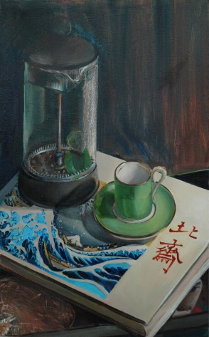 Conversation with Hokusai, oil on canvas, 12 x 20″, 2011