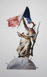 Liberté, Egalité, Fraternité (detail), watercolor, 45 x 48″, 2014
