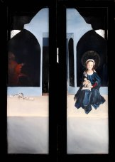 Thou Shalt Not Bear False Witness Against Thy Neighbor (Nor Against Thyself), oil on masonite, hinged polyptych, closed, 2013