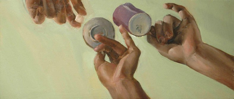 One Lump for Two, oil on canvas, 12 x 24″, 2011
