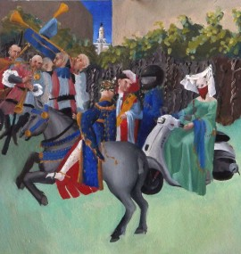 Limbourg Subversion (But Mary, This is a Vespa!), oil on paper, 8.5 x 9″, 2013