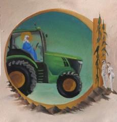 Limbourg Subversion (Green Revolution), oil on paper, 8.5 x 9″, 2013