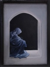 "In the Beginning (inside right panel), oil on canvas, 9 x 12"", 2012"