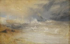 Waves Breaking on a Lee Shore at Margate (Study for 'Rockets and Blue Lights') c.1840 Joseph Mallord William Turner 1775-1851 Accepted by the nation as part of the Turner Bequest 1856 http://www.tate.org.uk/art/work/N02882