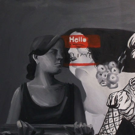 greyscale depiction of the artist holding an empty plate and two other artists' depictions of Salome (left panel of a diptych)