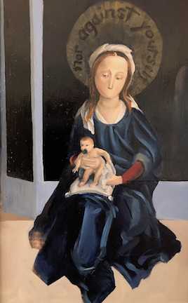 A mouthless Mary holds a pacifier muffled Jesus in her lap